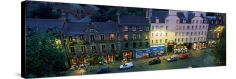 High Angle View of Pubs at Dusk in Grassmarket, Edinburgh, Scotland--Stretched Canvas Print