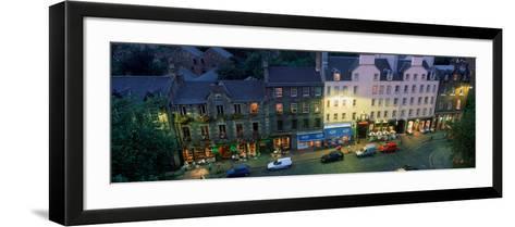 High Angle View of Pubs at Dusk in Grassmarket, Edinburgh, Scotland--Framed Art Print