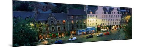 High Angle View of Pubs at Dusk in Grassmarket, Edinburgh, Scotland--Mounted Photographic Print