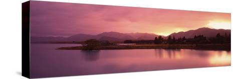 Lake at Sunset, Lake Tekapo, South Island, Canterbury, New Zealand--Stretched Canvas Print
