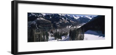 Ski Lifts over Telluride, San Miguel County, Colorado, USA--Framed Art Print