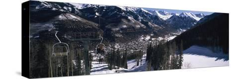 Ski Lifts over Telluride, San Miguel County, Colorado, USA--Stretched Canvas Print