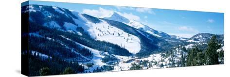 Snowcapped Mountains, Lone Mountain, Big Sky, Montana, USA--Stretched Canvas Print
