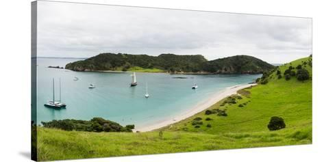 Boats Docked in Small Bay at Waewaetorea Island, Bay of Islands, Northland Region--Stretched Canvas Print