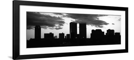 Silhouette of Skyscrapers in a City, Century City, City of Los Angeles, Los Angeles County--Framed Art Print