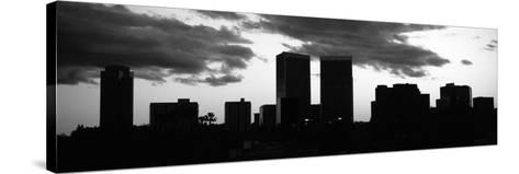 Silhouette of Skyscrapers in a City, Century City, City of Los Angeles, Los Angeles County--Stretched Canvas Print