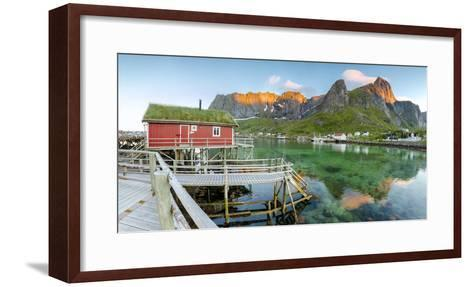 Panoramic of the Fishing Village Surrounded by Sea and Midnight Sun, Reine, Nordland County-Roberto Moiola-Framed Art Print