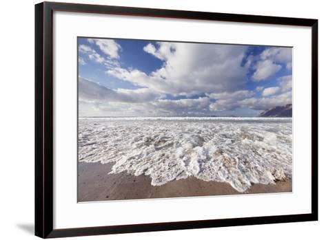 View from Famara Beach to La Graciosa Island, Lanzarote, Canary Islands, Spain, Atlantic, Europe-Markus Lange-Framed Art Print