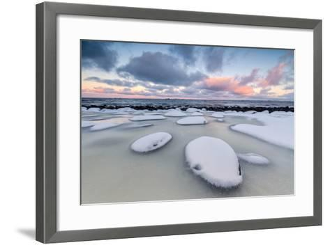 Dawn on the Cold Sea Surrounded by Snowy Rocks Shaped by Wind and Ice at Eggum-Roberto Moiola-Framed Art Print