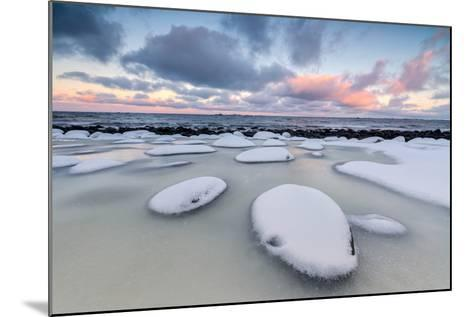 Dawn on the Cold Sea Surrounded by Snowy Rocks Shaped by Wind and Ice at Eggum-Roberto Moiola-Mounted Photographic Print