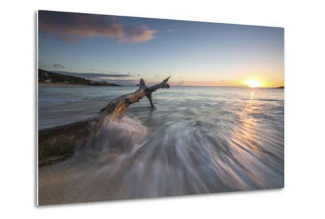 Waves on a Tree Trunk on the Beach Framed by the Caribbean Sunset, Hawksbill Bay, Antigua-Roberto Moiola-Metal Print