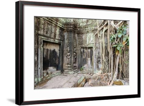 Tree Roots Growing on Ta Prohm Temple (Rajavihara) Ruins, Angkor, UNESCO World Heritage Site-Jason Langley-Framed Art Print