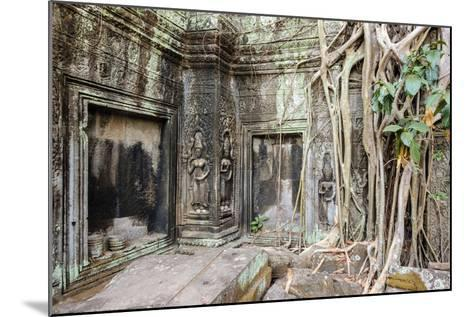 Tree Roots Growing on Ta Prohm Temple (Rajavihara) Ruins, Angkor, UNESCO World Heritage Site-Jason Langley-Mounted Photographic Print