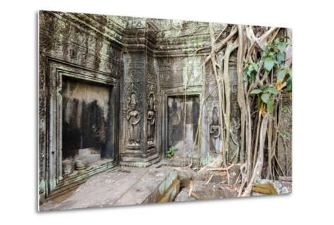 Tree Roots Growing on Ta Prohm Temple (Rajavihara) Ruins, Angkor, UNESCO World Heritage Site-Jason Langley-Metal Print