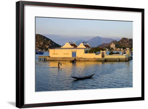 The Fishing Port, with a Small Buddhist Pagoda in Foreground, Phan Rang-Nathalie Cuvelier-Framed Art Print