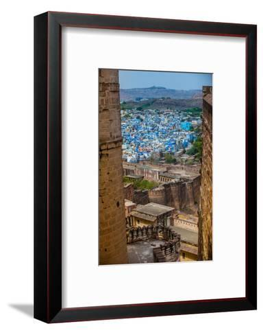 The View from Mehrangarh Fort of the Blue Rooftops in Jodhpur, the Blue City, Rajasthan-Laura Grier-Framed Art Print