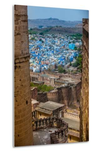 The View from Mehrangarh Fort of the Blue Rooftops in Jodhpur, the Blue City, Rajasthan-Laura Grier-Metal Print