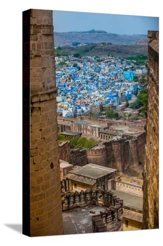 The View from Mehrangarh Fort of the Blue Rooftops in Jodhpur, the Blue City, Rajasthan-Laura Grier-Stretched Canvas Print