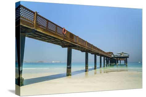 A Pier on Jumeirah Beach, Dubai, United Arab Emirates, Middle East-Fraser Hall-Stretched Canvas Print