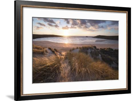 Ribbed Sand and Sand Dunes at Sunset, Crantock Beach, Crantock, Near Newquay, Cornwall-Stuart Black-Framed Art Print
