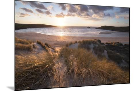 Ribbed Sand and Sand Dunes at Sunset, Crantock Beach, Crantock, Near Newquay, Cornwall-Stuart Black-Mounted Photographic Print