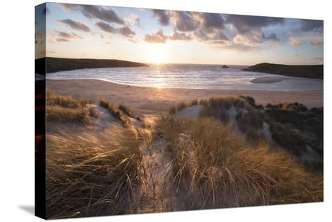Ribbed Sand and Sand Dunes at Sunset, Crantock Beach, Crantock, Near Newquay, Cornwall-Stuart Black-Stretched Canvas Print