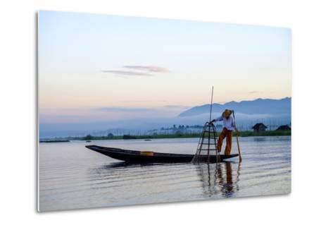 Intha Ethnic Group Fisherman, Inle Lake, Shan State, Myanmar (Burma), Asia-Nathalie Cuvelier-Metal Print