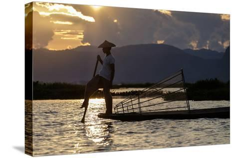 Intha Ethnic Group Fisherman, Inle Lake, Shan State, Myanmar (Burma), Asia-Nathalie Cuvelier-Stretched Canvas Print