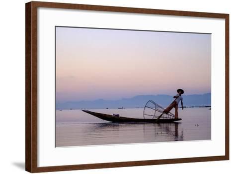 Intha Ethnic Group Fisherman, Inle Lake, Shan State, Myanmar (Burma), Asia-Nathalie Cuvelier-Framed Art Print