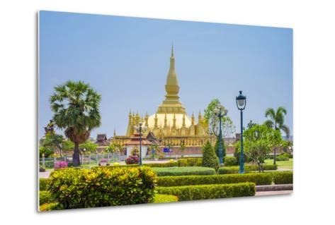 Pha That Luang Golden Stupa, Vientiane, Laos, Indochina, Southeast Asia, Asia-Jason Langley-Metal Print