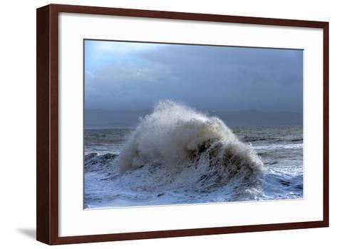 Huge Waves Crash Against a Stone Jetty at Criccieth, Gwynedd, Wales, United Kingdom, Europe-Graham Lawrence-Framed Art Print