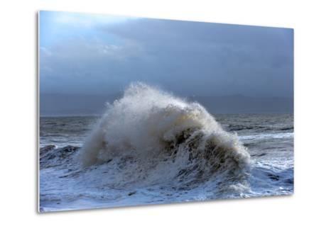 Huge Waves Crash Against a Stone Jetty at Criccieth, Gwynedd, Wales, United Kingdom, Europe-Graham Lawrence-Metal Print