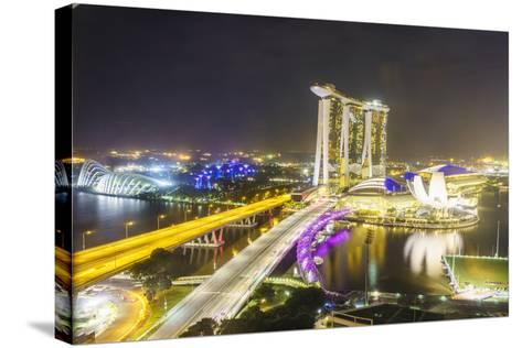 Busy Roads Leading to the Marina Bay Sands, Gardens by the Bay and Artscience Museum at Night-Fraser Hall-Stretched Canvas Print
