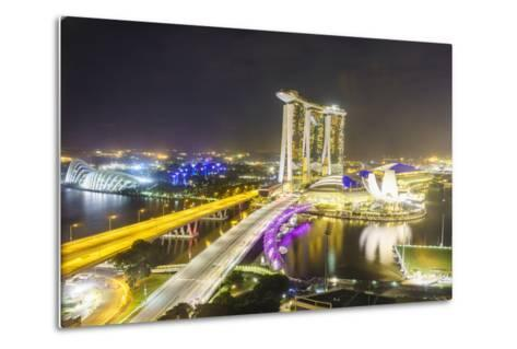 Busy Roads Leading to the Marina Bay Sands, Gardens by the Bay and Artscience Museum at Night-Fraser Hall-Metal Print
