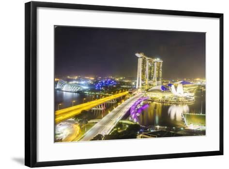 Busy Roads Leading to the Marina Bay Sands, Gardens by the Bay and Artscience Museum at Night-Fraser Hall-Framed Art Print