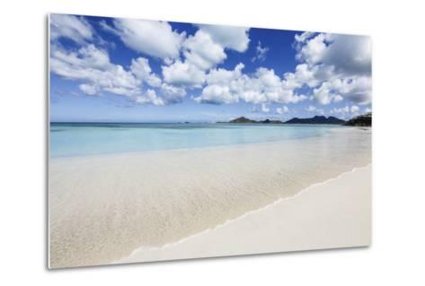 Blue Sky Frames the White Sand and the Turquoise Caribbean Sea, Ffryes Beach, Antigua-Roberto Moiola-Metal Print