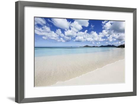 Blue Sky Frames the White Sand and the Turquoise Caribbean Sea, Ffryes Beach, Antigua-Roberto Moiola-Framed Art Print