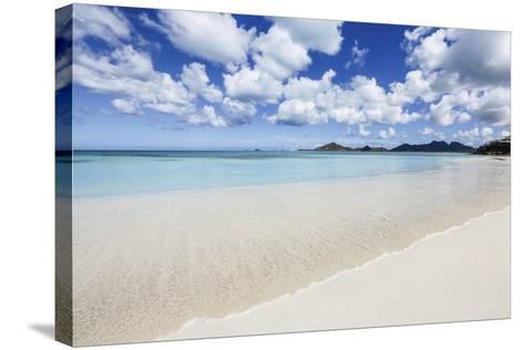 Blue Sky Frames the White Sand and the Turquoise Caribbean Sea, Ffryes Beach, Antigua-Roberto Moiola-Stretched Canvas Print
