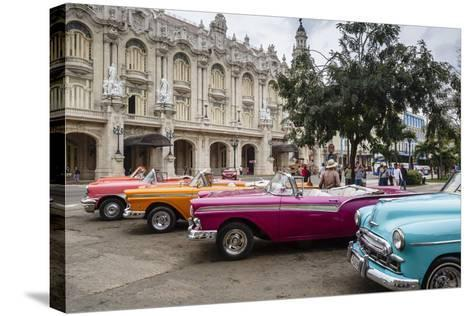 Vintage American Cars Parking Outside the Gran Teatro (Grand Theater), Havana, Cuba-Yadid Levy-Stretched Canvas Print