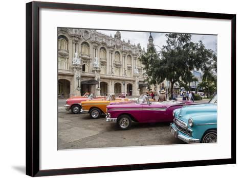 Vintage American Cars Parking Outside the Gran Teatro (Grand Theater), Havana, Cuba-Yadid Levy-Framed Art Print