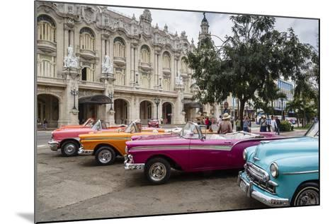 Vintage American Cars Parking Outside the Gran Teatro (Grand Theater), Havana, Cuba-Yadid Levy-Mounted Photographic Print