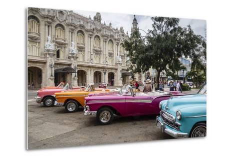 Vintage American Cars Parking Outside the Gran Teatro (Grand Theater), Havana, Cuba-Yadid Levy-Metal Print