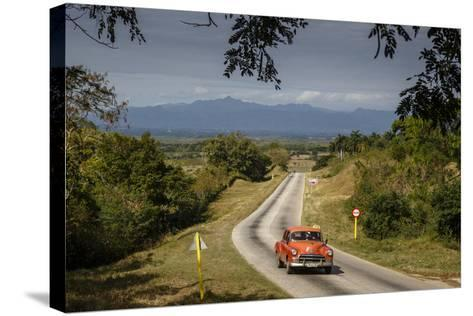 Old Vintage American Car on a Road Outside Trinidad, Sancti Spiritus Province, Cuba-Yadid Levy-Stretched Canvas Print