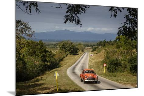 Old Vintage American Car on a Road Outside Trinidad, Sancti Spiritus Province, Cuba-Yadid Levy-Mounted Photographic Print
