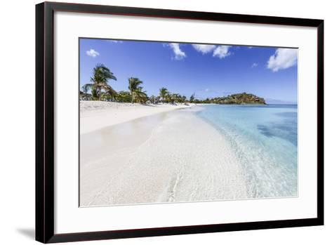 Palm Trees and White Sand Surround the Turquoise Caribbean Sea, Ffryes Beach, Antigua-Roberto Moiola-Framed Art Print