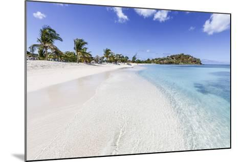 Palm Trees and White Sand Surround the Turquoise Caribbean Sea, Ffryes Beach, Antigua-Roberto Moiola-Mounted Photographic Print