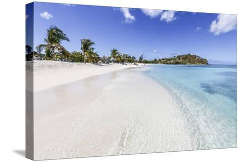 Palm Trees and White Sand Surround the Turquoise Caribbean Sea, Ffryes Beach, Antigua-Roberto Moiola-Stretched Canvas Print