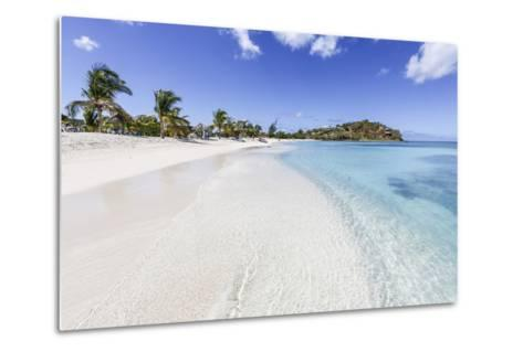 Palm Trees and White Sand Surround the Turquoise Caribbean Sea, Ffryes Beach, Antigua-Roberto Moiola-Metal Print
