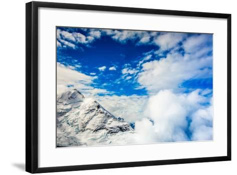 Aerial View of Glacier Peak on Fox Glacier, South Island, New Zealand, Pacific-Laura Grier-Framed Art Print