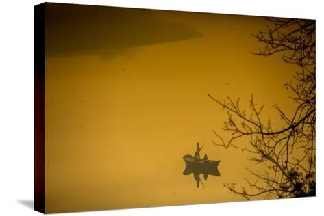 Sunrise over a Boat on the Taj Mahal Lake, Agra, Uttar Pradesh, India, Asia-Laura Grier-Stretched Canvas Print